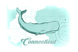 Connecticut - Whale - Teal - Coastal Icon Poster by  Lantern Press