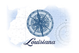 Louisiana - Compass - Blue - Coastal Icon Posters by  Lantern Press