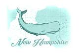 New Hampshire - Whale - Teal - Coastal Icon Prints by  Lantern Press