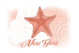 New York - Starfish - Coral - Coastal Icon Poster by  Lantern Press
