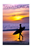 Santa Monica, California - Surfer and Sunset Print by  Lantern Press