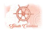 South Carolina - Ship Wheel - Coral - Coastal Icon Posters by  Lantern Press