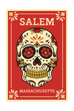 Salem, Massachusetts - Day of the Dead - Sugar Skull and Flower Pattern Prints by  Lantern Press