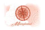 Maryland - Compass - Coral - Coastal Icon Art by  Lantern Press