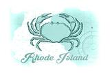 Rhode Island - Crab - Teal - Coastal Icon Prints by  Lantern Press