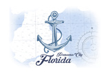 Panama City, Florida - Anchor - Blue - Coastal Icon Prints by  Lantern Press