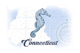 Connecticut - Seahorse - Blue - Coastal Icon Posters by  Lantern Press