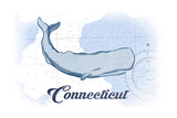 Connecticut - Whale - Blue - Coastal Icon Posters by  Lantern Press