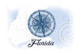 Florida - Compass - Blue - Coastal Icon Posters by  Lantern Press