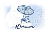 Delaware - Beach Chair and Umbrella - Blue - Coastal Icon Posters by  Lantern Press
