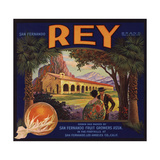 Rey Brand - San Fernando, California - Citrus Crate Label Posters by  Lantern Press