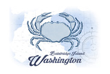 Bainbridge Island, Washington - Crab - Blue - Coastal Icon Print by  Lantern Press