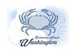 Bainbridge Island, Washington - Crab - Blue - Coastal Icon Print by  Lantern Press