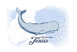 Galveston, Texas - Whale - Blue - Coastal Icon Prints by  Lantern Press