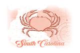 South Carolina - Crab - Coral - Coastal Icon Prints by  Lantern Press