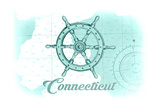 Connecticut - Ship Wheel - Teal - Coastal Icon Print by  Lantern Press