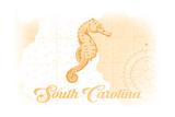 South Carolina - Seahorse - Yellow - Coastal Icon Posters by  Lantern Press