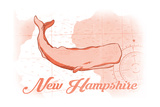 New Hampshire - Whale - Coral - Coastal Icon Posters by  Lantern Press