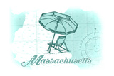 Massachusetts - Beach Chair and Umbrella - Teal - Coastal Icon Print by  Lantern Press