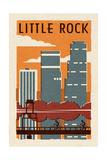 Little Rock, Arkansas - Woodblock Kunstdruck von  Lantern Press