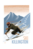 Killington, Vermont - Downhill Skier - Lithography Style Poster by  Lantern Press