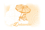 Delaware - Beach Chair and Umbrella - Yellow - Coastal Icon Posters by  Lantern Press