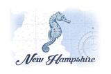 New Hampshire - Seahorse - Blue - Coastal Icon Prints by  Lantern Press