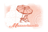 Massachusetts - Beach Chair and Umbrella - Coral - Coastal Icon Prints by  Lantern Press