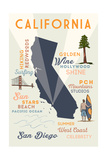 San Diego, California - Typography and Icons Prints by  Lantern Press