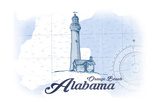 Orange Beach, Alabama - Lighthouse - Blue - Coastal Icon Prints by  Lantern Press