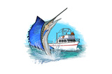 Sailfish and Fishing Boat - Icon Poster by  Lantern Press