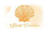 South Carolina - Scallop Shell - Yellow - Coastal Icon Poster by  Lantern Press