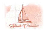 South Carolina - Sailboat - Coral - Coastal Icon Poster by  Lantern Press