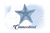 Connecticut - Starfish - Blue - Coastal Icon Posters by  Lantern Press