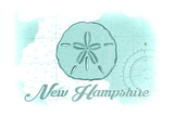 New Hampshire - Sand Dollar - Teal - Coastal Icon Prints by  Lantern Press