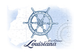 New Orleans, Louisiana - Ship Wheel - Blue - Coastal Icon Prints by  Lantern Press