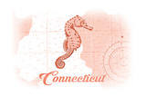 Connecticut - Seahorse - Coral - Coastal Icon Art by  Lantern Press