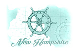 New Hampshire - Ship Wheel - Teal - Coastal Icon Prints by  Lantern Press