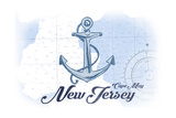 Cape May, New Jersey - Anchor - Blue - Coastal Icon Prints by  Lantern Press