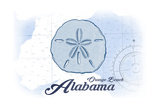 Orange Beach, Alabama - Sand Dollar - Blue - Coastal Icon Prints by  Lantern Press