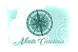 North Carolina - Compass - Teal - Coastal Icon Poster by  Lantern Press
