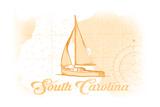 South Carolina - Sailboat - Yellow - Coastal Icon Print by  Lantern Press