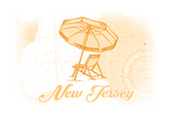 New Jersey - Beach Chair and Umbrella - Yellow - Coastal Icon Posters by  Lantern Press