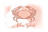 New York - Crab - Coral - Coastal Icon Print by  Lantern Press