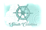 South Carolina - Ship Wheel - Teal - Coastal Icon Art by  Lantern Press