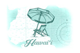 Hawaii - Beach Chair and Umbrella - Teal - Coastal Icon Posters by  Lantern Press