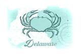 Delaware - Crab - Teal - Coastal Icon Prints by  Lantern Press