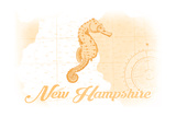 New Hampshire - Seahorse - Yellow - Coastal Icon Posters by  Lantern Press