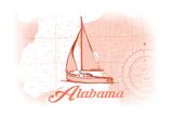 Alabama - Sailboat - Coral - Coastal Icon Prints by  Lantern Press