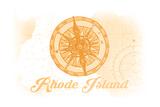 Rhode Island - Compass - Yellow - Coastal Icon Print by  Lantern Press